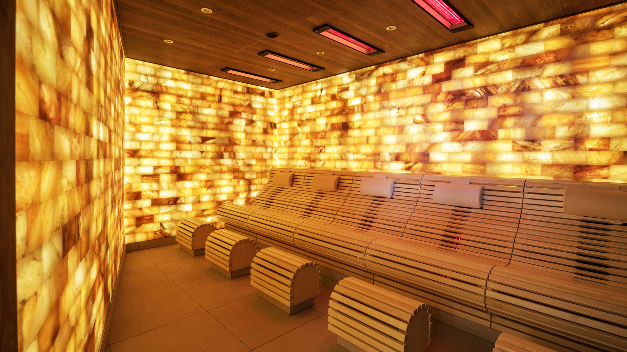 Infrared sauna with backlit salt bricks